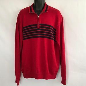 Nautica 100% CottonRed & Black Stripe Knit Sweater